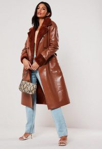 MISSGUIDED rust vinyl faux fur double breasted coat – tie waist winter coats