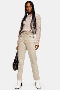 Topshop Sand Raw Hem Straight Jeans | neutral denim