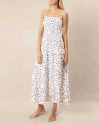 heidi klein Santa Margherita Ligure Square Neck Tiered Maxi Dress – polka dot sun dresses – resort wear