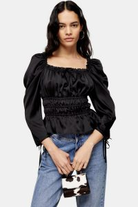 TOPSHOP Satin Ruched Prairie Blouse – gathered square neck top