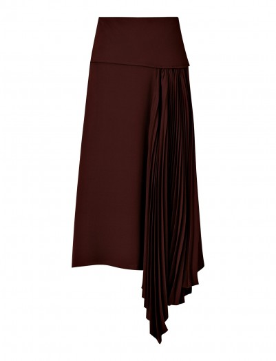 Joseph Selma Silk Crepe Skirt in Maroon   contemporary asymmetric fashion