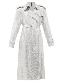 NORMA KAMALI Sequinned double-breasted trench coat in silver / sparkling glamour