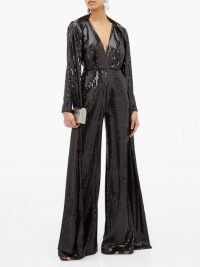 ELIE SAAB Sequinned wide-leg jumpsuit in black ~ sparkling designer evening wear ~ occasion glamour