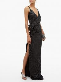 BALMAIN Sequinned wrap-effect gown in black ~ evening elegance