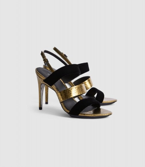 Reiss SERENA LEATHER AND VELVET STRAPPY SANDALS GOLD – evening luxe – glamorous occasion shoes