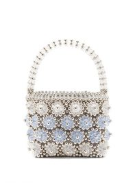 SHRIMPS Shelly beaded floral handbag in blue