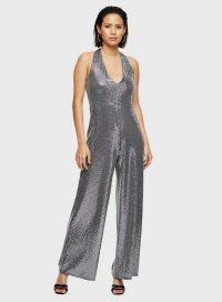 MISS SELFRIDGE Silver Halter Sequin Jumpsuit – party glamour