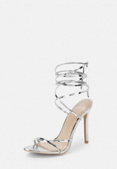 Missguided silver lace up barely there heels | strappy metallic sandals - flipped