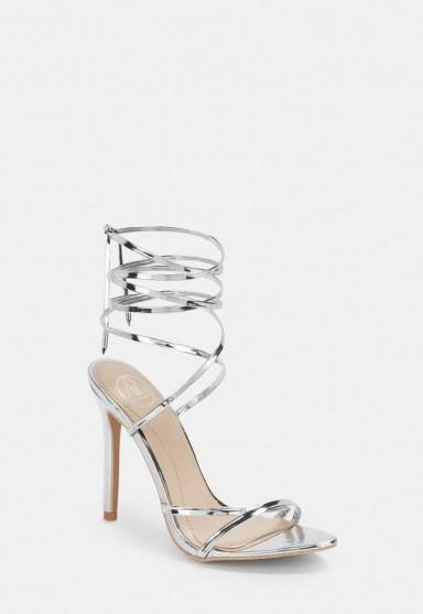 Missguided silver lace up barely there heels | strappy metallic sandals