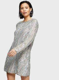 MISS SELFRIDGE Silver Long Sleeve Sequin Mini Dress – sparkly shift dresses