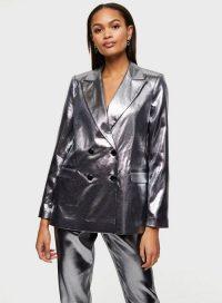 MISS SELFRIDGE Metallic Suit Blazer – glamorous evening jacket