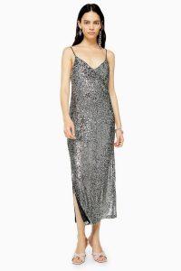 TOPSHOP Silver Sequin Midi Dress / sparkling slip dresses