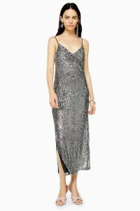 TOPSHOP Silver Sequin Midi Dress – glamorous strappy dresses