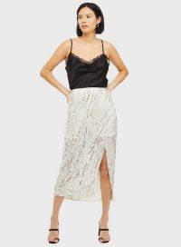 MISS SELFRIDGE Silver Sequin Midi Skirt – glamorous evening skirts