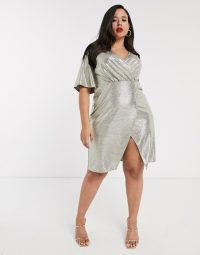 Simply Be wrap front midi dress with angel sleeves in gold shimmer | plus size party dresses