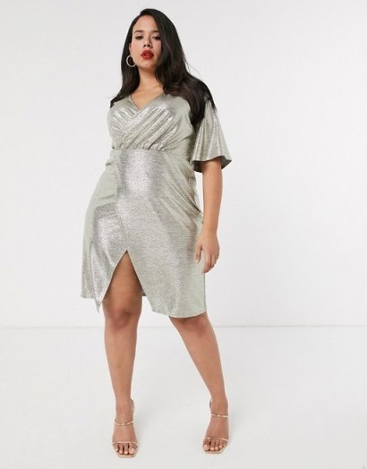 Simply Be wrap front midi dress with angel sleeves in gold shimmer | plus size party dresses - flipped