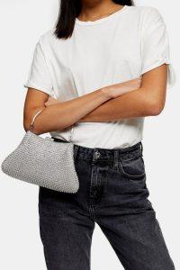 TOPSHOP SING Diamante Grab Bag Silver – glamorous vintage style evening bags