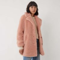Warehouse SINGLE BREASTED TEDDY COAT in LIGHT-PINK | textured coats