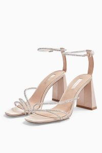 Topshop SKY Nude Diamante Block Shoes | embellished evening heels