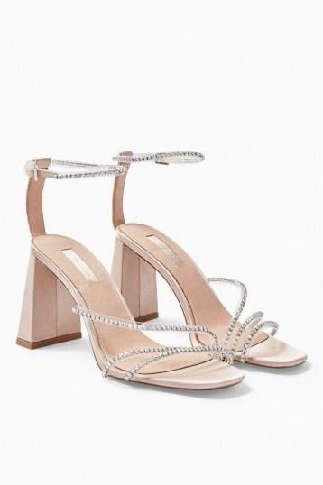 Topshop SKY Nude Diamante Block Shoes | embellished evening heels - flipped