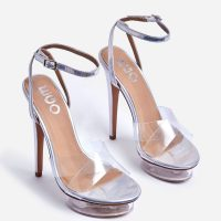 EGO Smoking Barely There Perspex Platform Heel In Silver Holographic Faux Leather – glamorous metallic platforms
