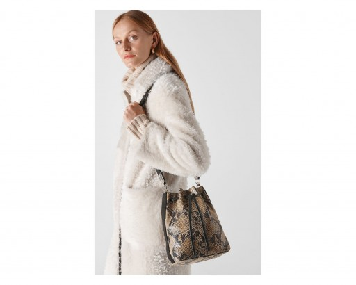WHISTLES Barton Snake Soft Bucket Bag
