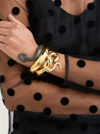 BEGUM KHAN Snake gold-plated cuff / eye-catching accessory