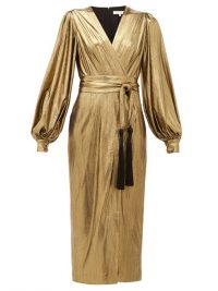 BORGO DE NOR Sofi tasselled waist-tie lamé midi dress in gold / vintage look evening dresses