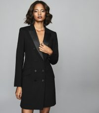 Reiss SOFIA WOOL BLEND TUXEDO DRESS BLACK – lbd – effortless evening glamour