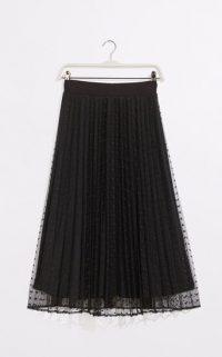 OASIS SPOT MESH MIDI SKIRT BLACK / sheer overlay skirts