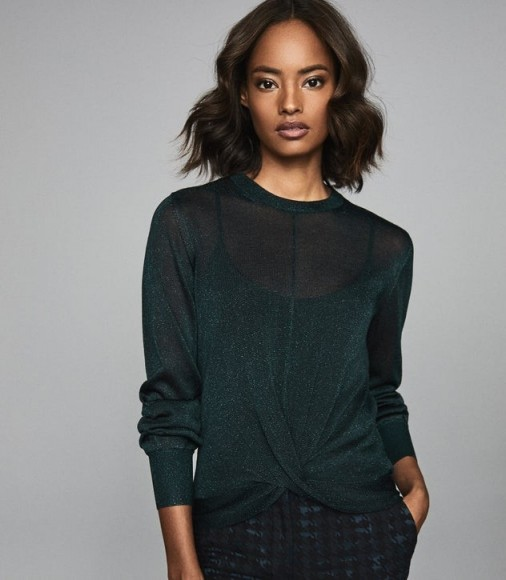 REISS STEPH METALLIC TWIST FRONT JUMPER DARK GREEN