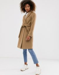 Stradivarius tailoring coat with belt in camel | belted wrap coats