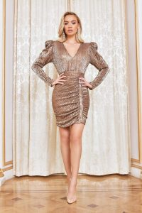 LAVISH ALICE structured shoulder pleated sequin mini dress in gold – glamorous going out fashion
