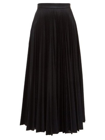 EMILIA WICKSTEAD Sunshine pleated metallic-jersey midi skirt in black - flipped