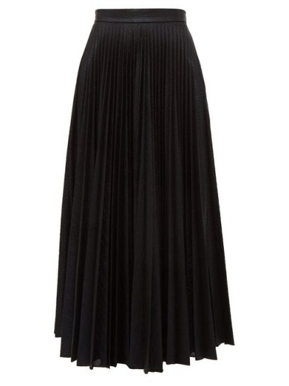 EMILIA WICKSTEAD Sunshine pleated metallic-jersey midi skirt in black
