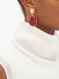 SONIA BOYAJIAN Surreal red crystal drop earrings