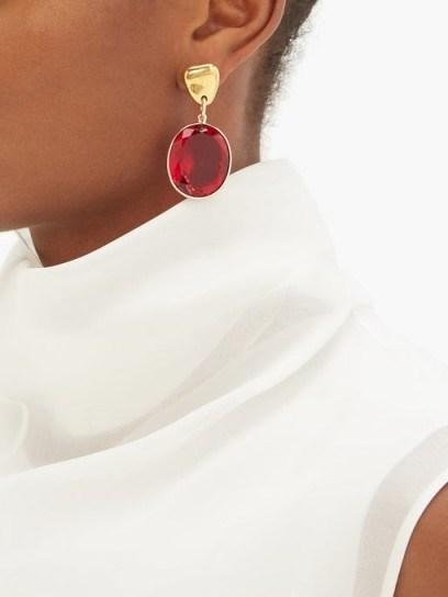 SONIA BOYAJIAN Surreal red crystal drop earrings - flipped