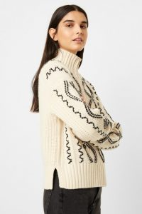 French Connection SUSA CABLE KNITS ZIP NECK JUMPER Classic Cream / Black