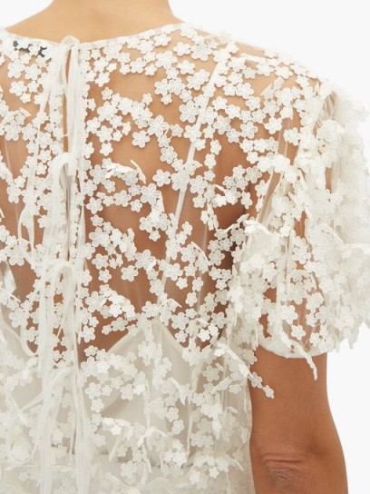 CECILIE BAHNSEN Tammi white floral-embroidered tulle blouse