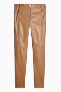 Topshop Tan Skinny Biker Faux Leather PU Trousers | light-brown skinnies