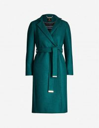 TED BAKER Chelsyy wool coat in dark-green – classic wrap coats – chic winter outerwear