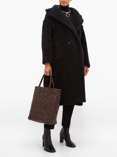 MAX MARA black faux-shearling Teddy coat ~ textured winter coats