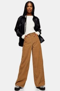 Topshop Teddy Corduroy Slim Wide Jeans in Brown