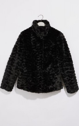 OASIS TEXTURED FAUX FUR COAT BLACK