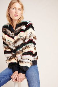 Conditions Apply Textured Trieste Bomber Coat ~ beaded faux fur jacket
