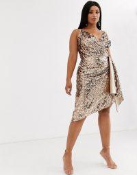 TFNC Plus wrap front mini sequin dress in rose gold / sparkling asymmetric party dresses
