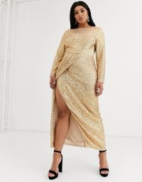 TFNC Plus wrap maxi dress in gold sequin / going out glamour