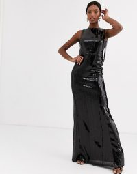 TFNC Tall maxi sequin dress with fringed back in liquid black