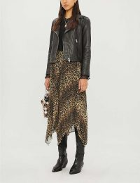 THE KOOPLES Leopard-print pleated midi skirt in leo01 – handkerchief hem skirts
