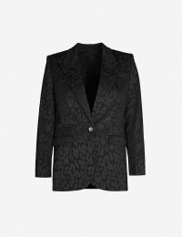 THE KOOPLES Leopard-print single-breasted jacquard blazer in black